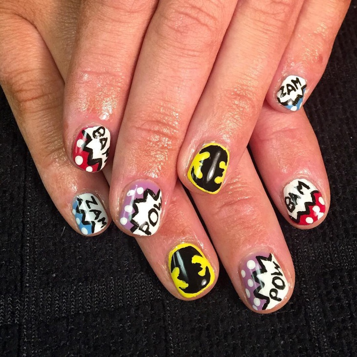 Lovely Comic Nail Art for Short Nails