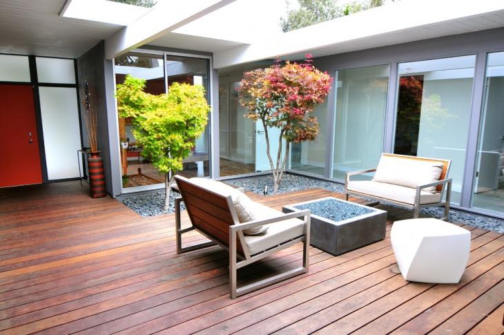 mid century modern deck idea