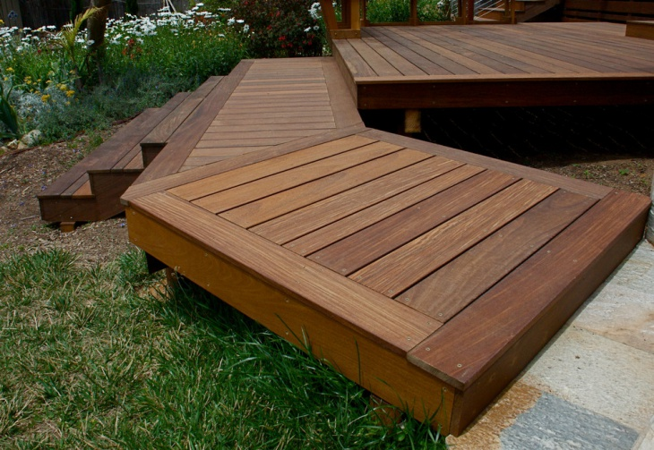 floating wood deck idea