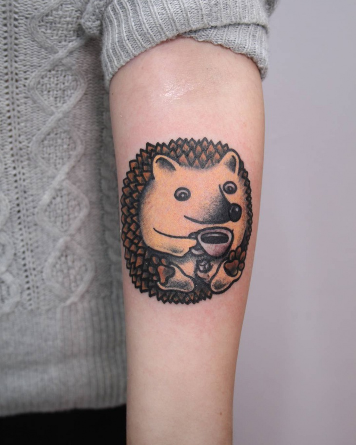 baby hedgehog tattoo design