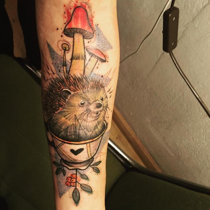 Hedgehog Tattoo on Forearm