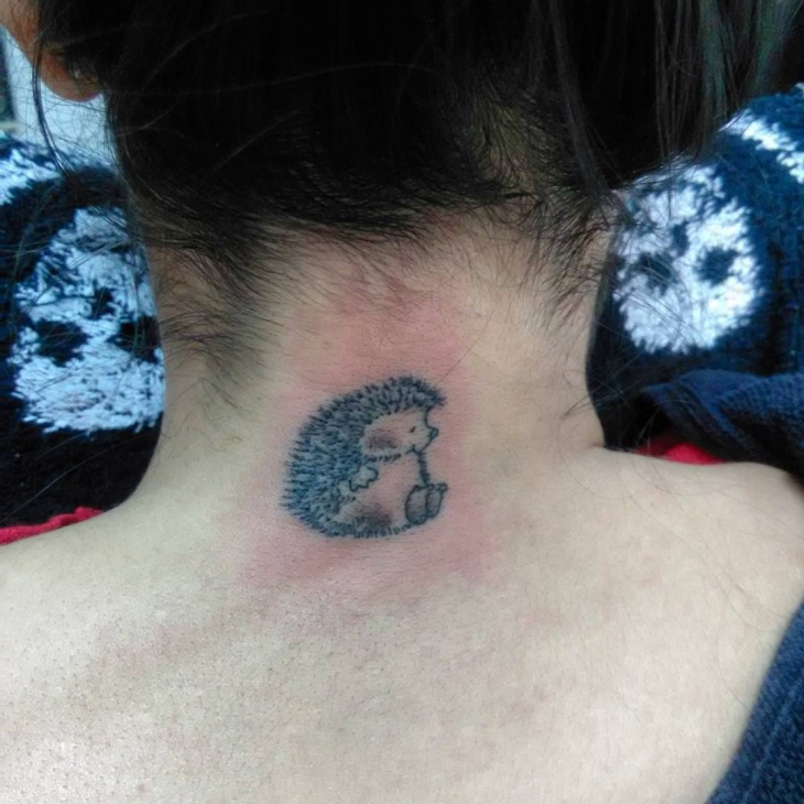 Hedgehog Tattoo on Neck