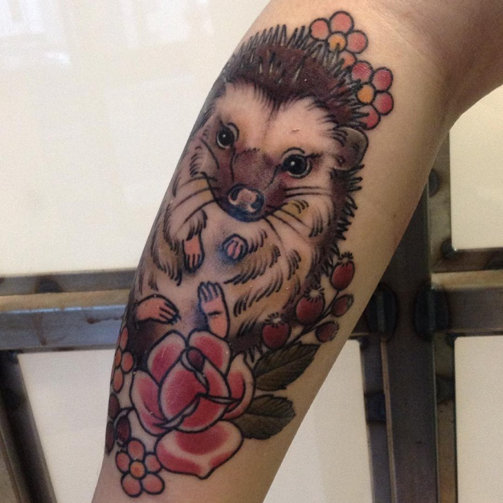 awesome hedgehog tattoo idea