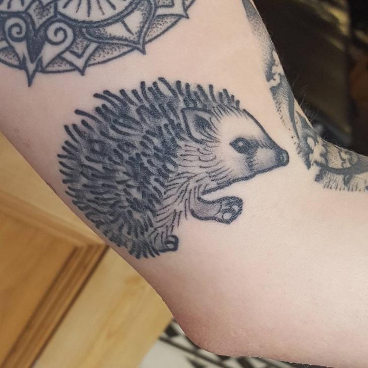 Black and Grey Hedgehog Tattoo