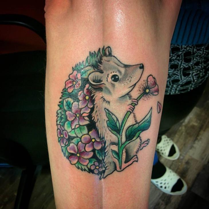 New School Hedgehog Tattoo