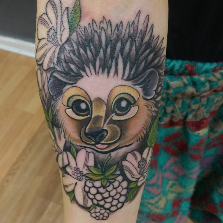 elegant hedgehog tattoo idea