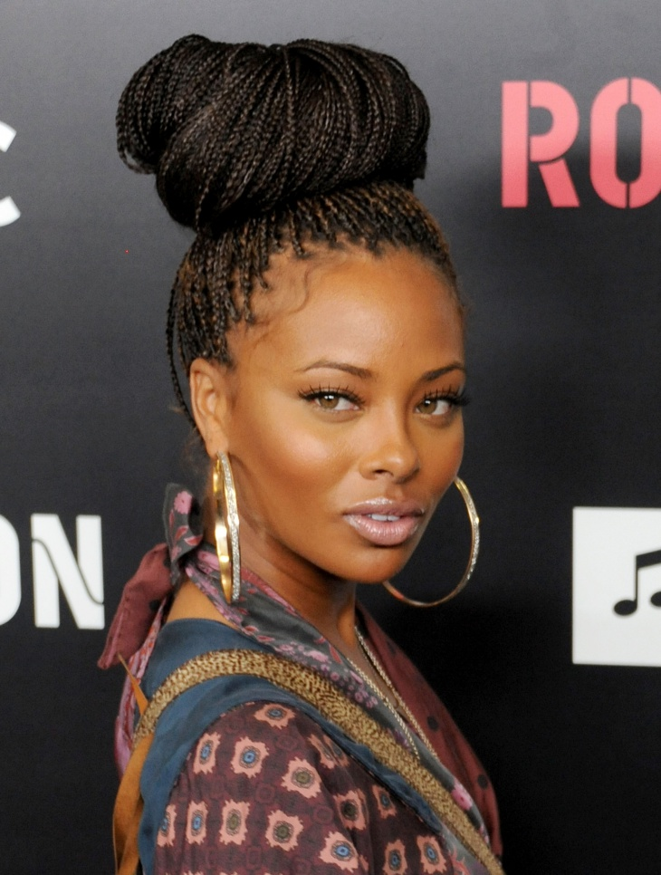 eva marcille box braid updo