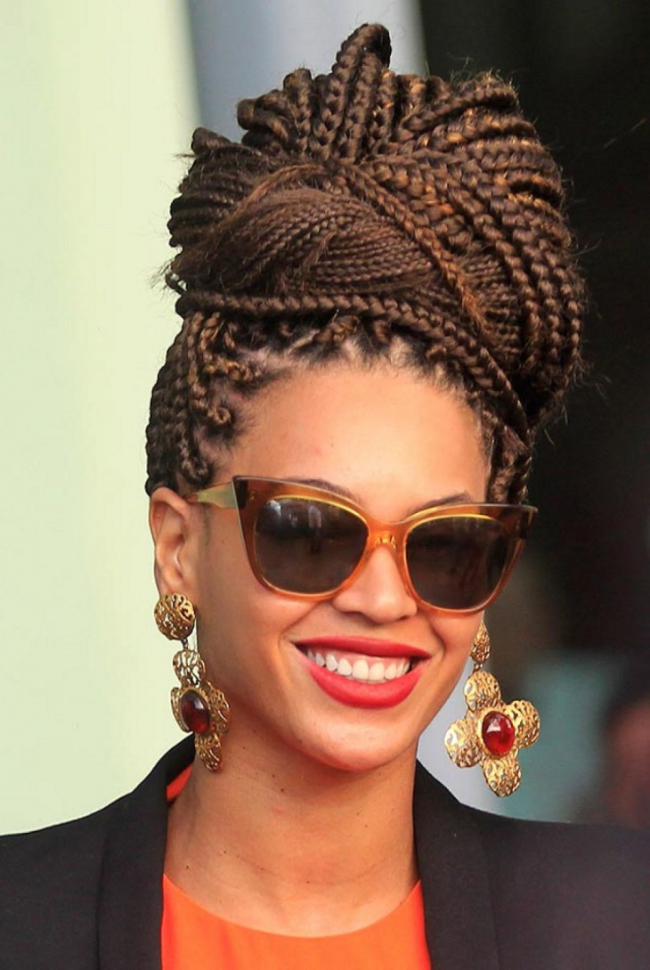 17+ Box Braid Updo Hairstyle Ideas, Designs