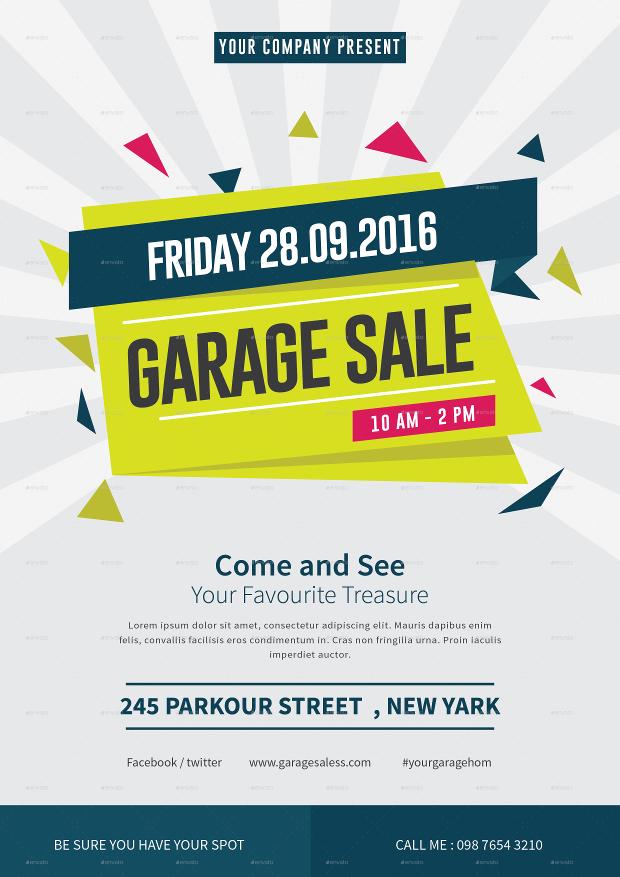 Photoshop PSD Garage Sale Flyer