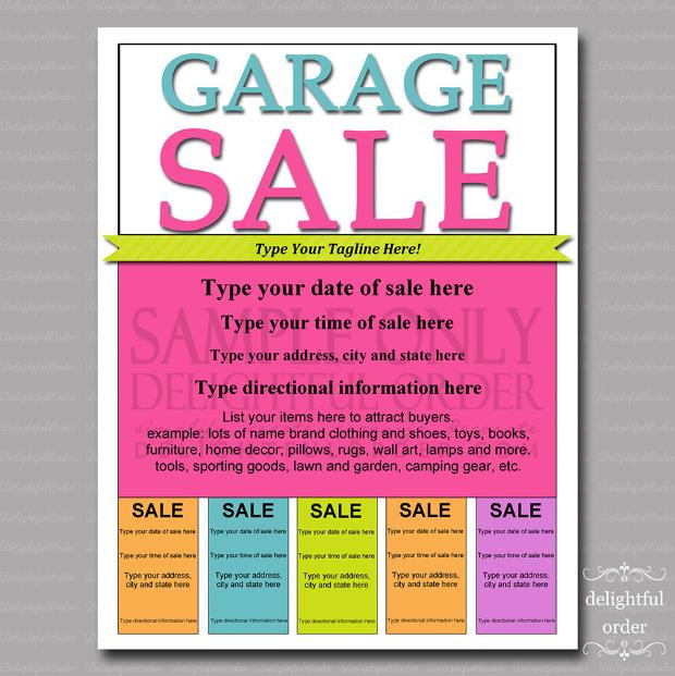 Editable and Printable Garage Sale Flyer