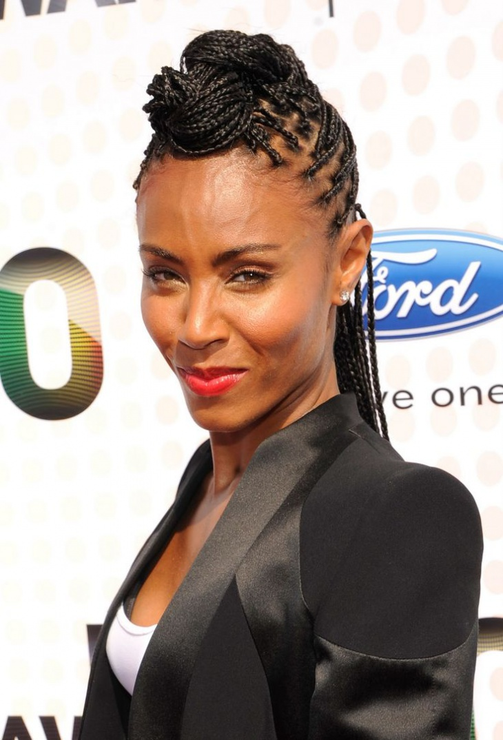 jada pinkett smith box braid half updo