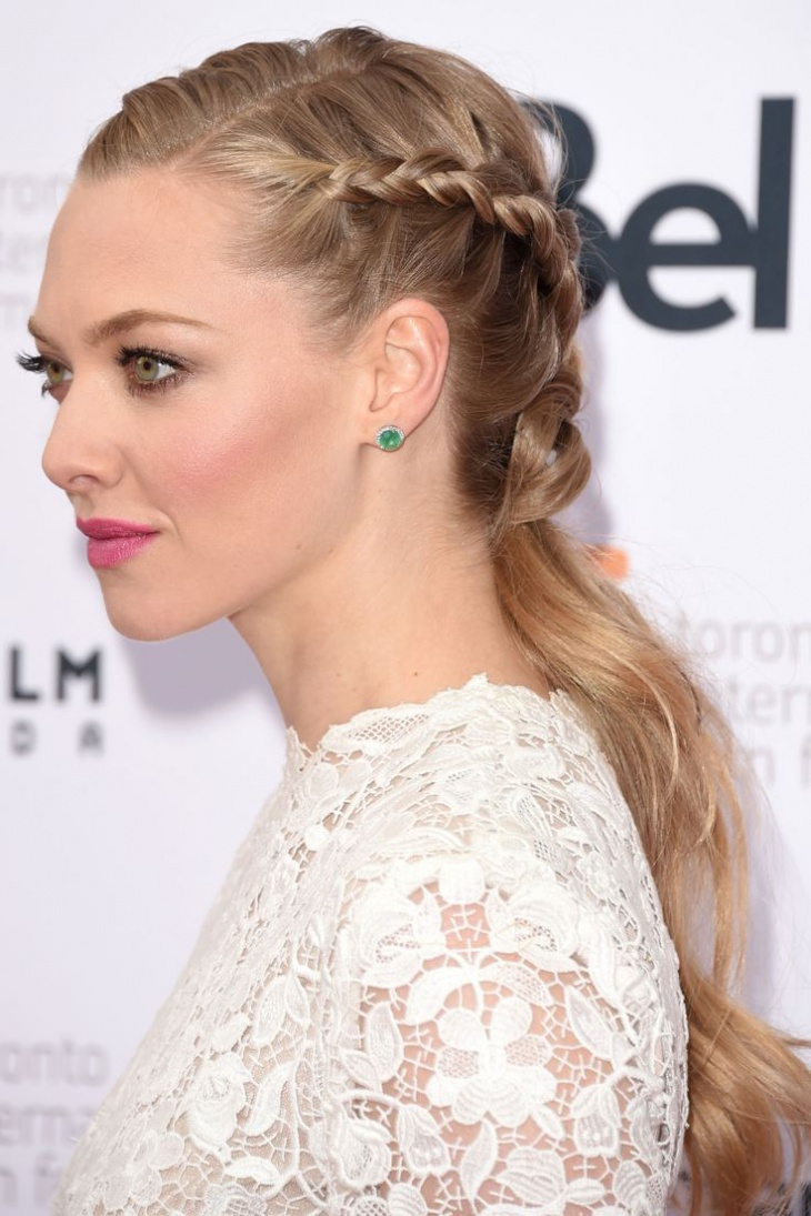 amanda seyfried half french braid ponytail