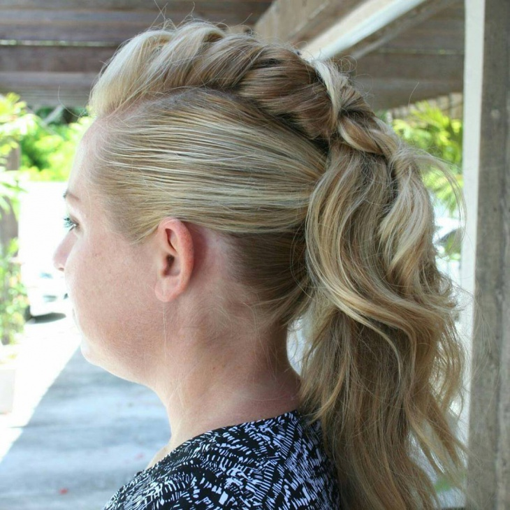 french braid edgy ponytail