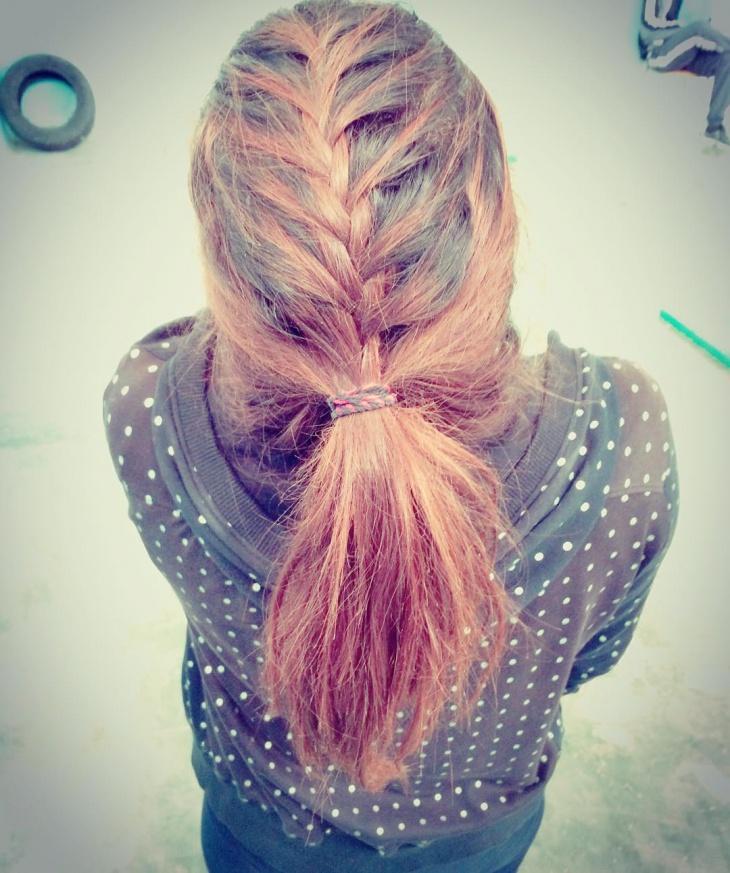 short french braid ponytail