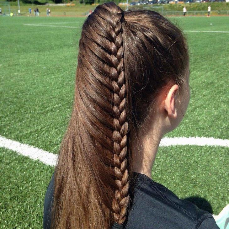 long braid french pony