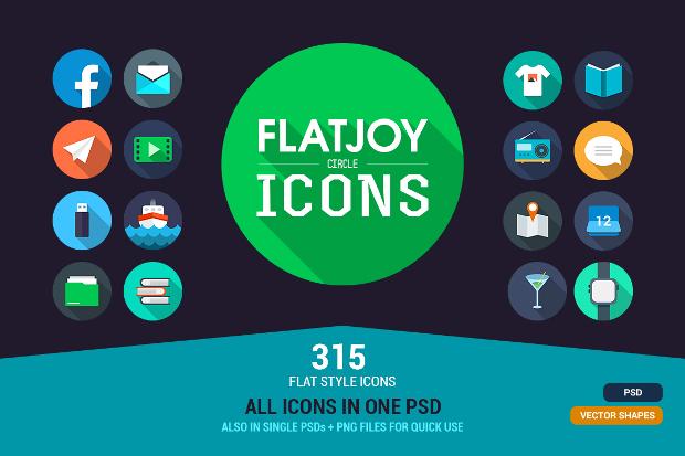 Flat Joy Circle Icons