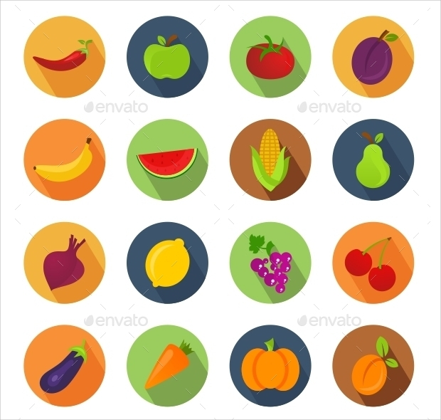 Vegetables and Fruit Circle Icons