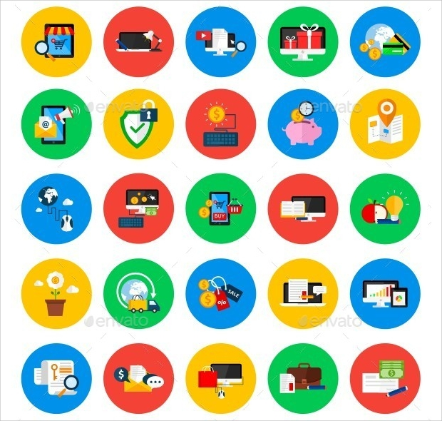 Modern Flat Colored Circle Icons