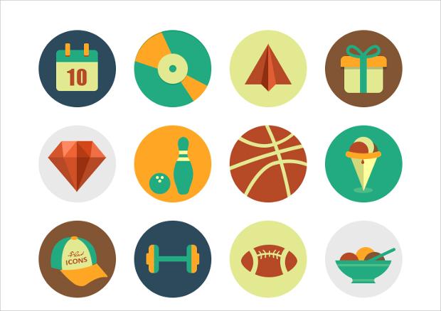 circle psd flat icons