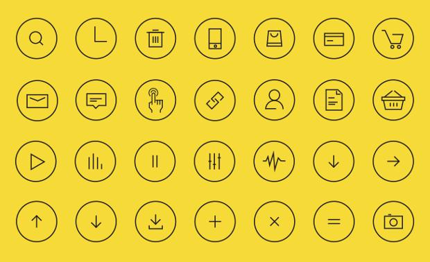 Thin Line Circle Icons