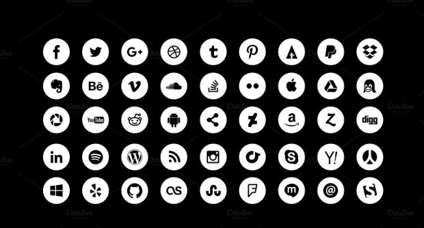 Simple Circle Social Media Icons