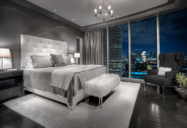 Merveilleux Gray Bedroom With Chandelier Design