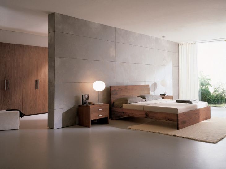 Gray Floor Wood Bed Design