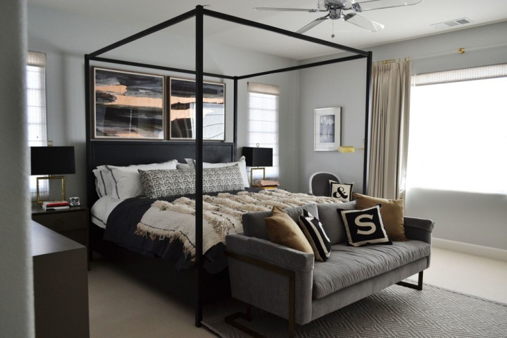 Gray Canopy Bedroom Design