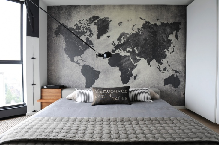 Gray Bedroom Wall Mural