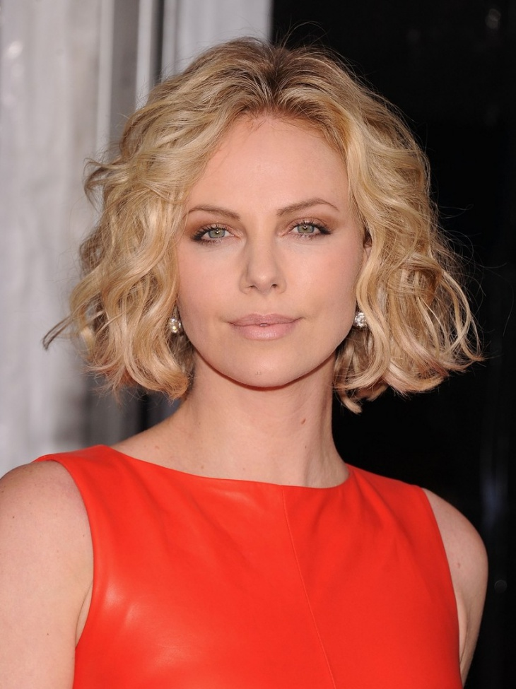 charlize theron curly feathered bob hair
