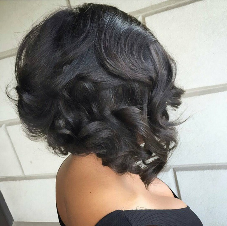 curly slayed bob hairstyle