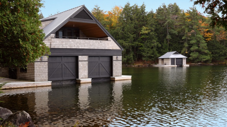 classic wooden boat house