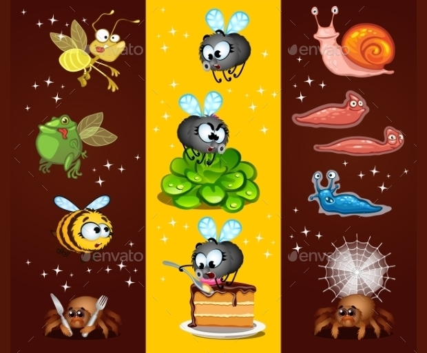 Colorful Cartoon Insects Vector