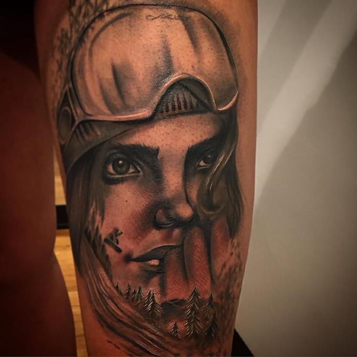 Girl Snowboard Tattoo Design