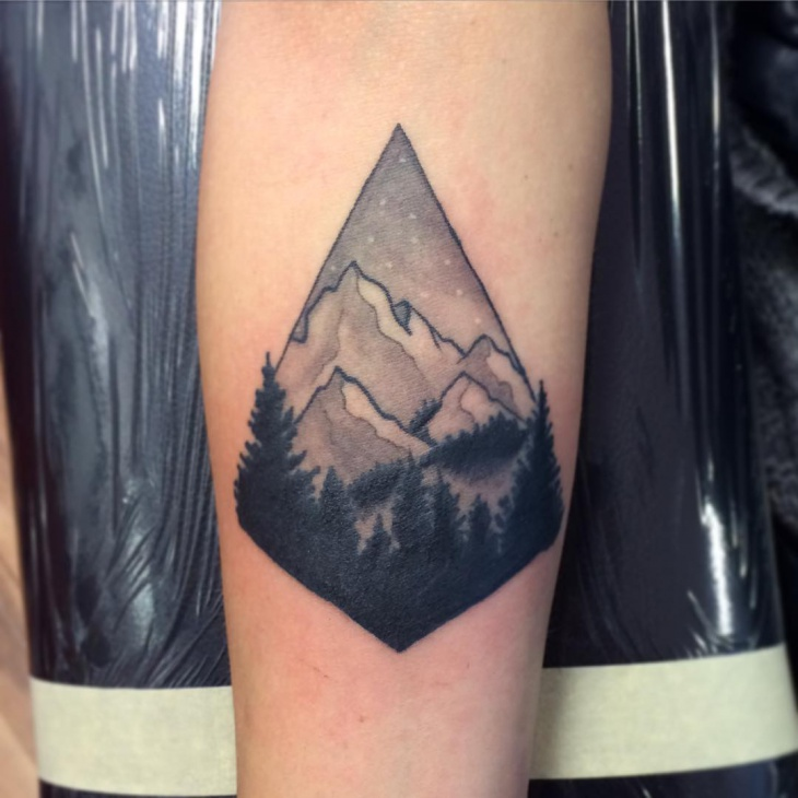 snowboard mountain tattoo