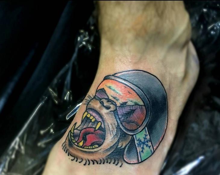 Snowboard Skull Tattoo