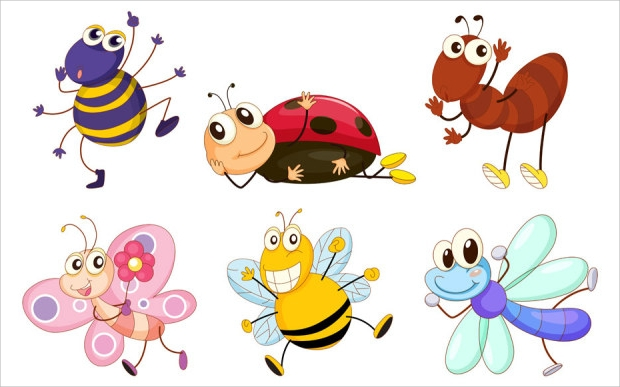 funny cartoon insect vector