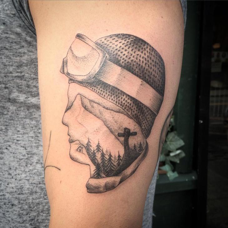snowboard face tattoo