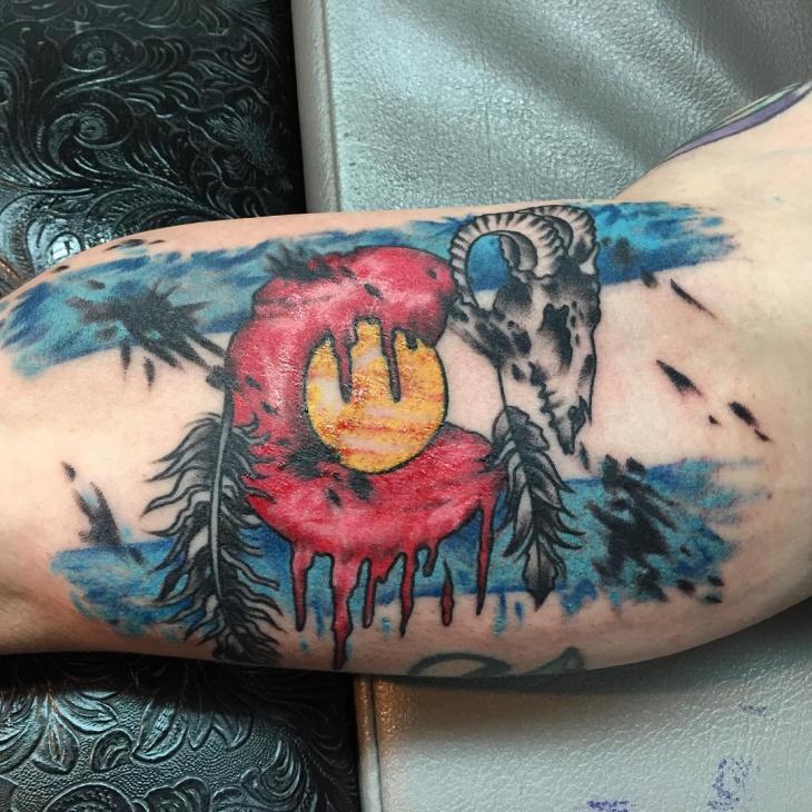 colorful snowboard tattoo design