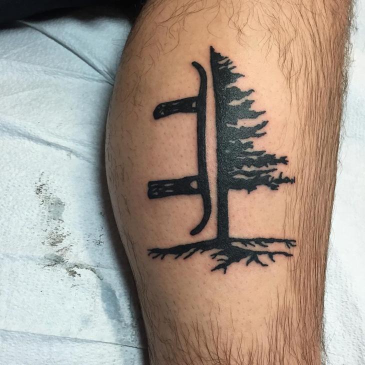 Snowboard Tree Tattoo