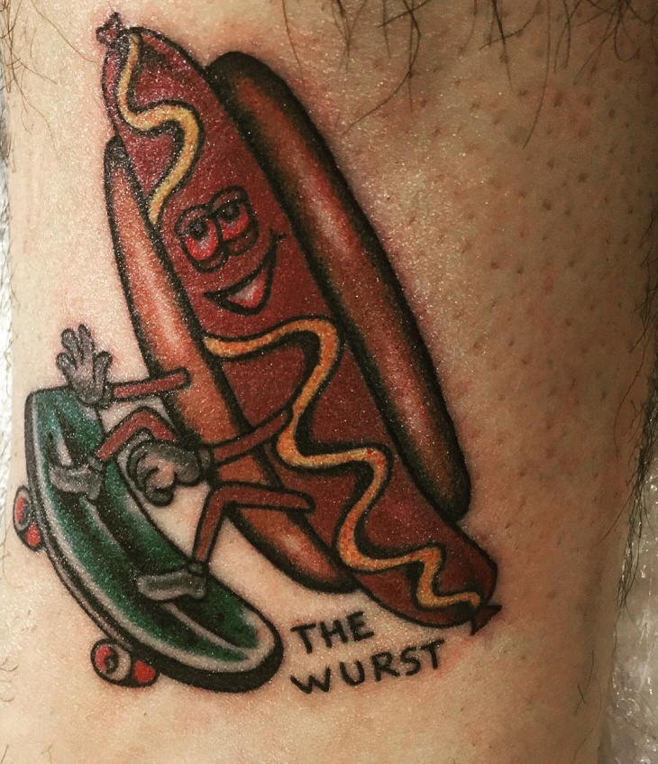 Cartoon Hot Dog Tattoo