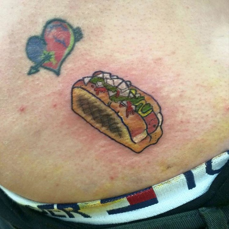 realistic hot dog tattoo