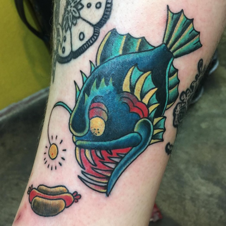 angler fish and hot dog tattoo