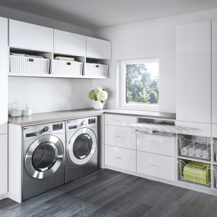 Gray Laundry Room Closet Design
