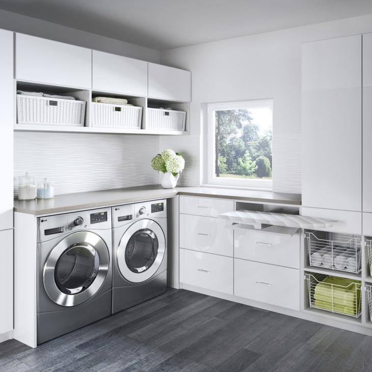 gray laundry room closet design