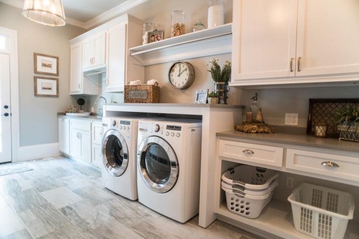 laundry room with wall clock idea
