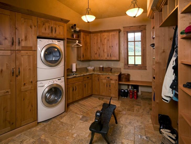 oak laundry room design