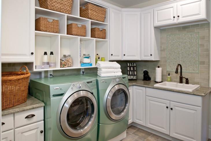 laundry room with shelves idea