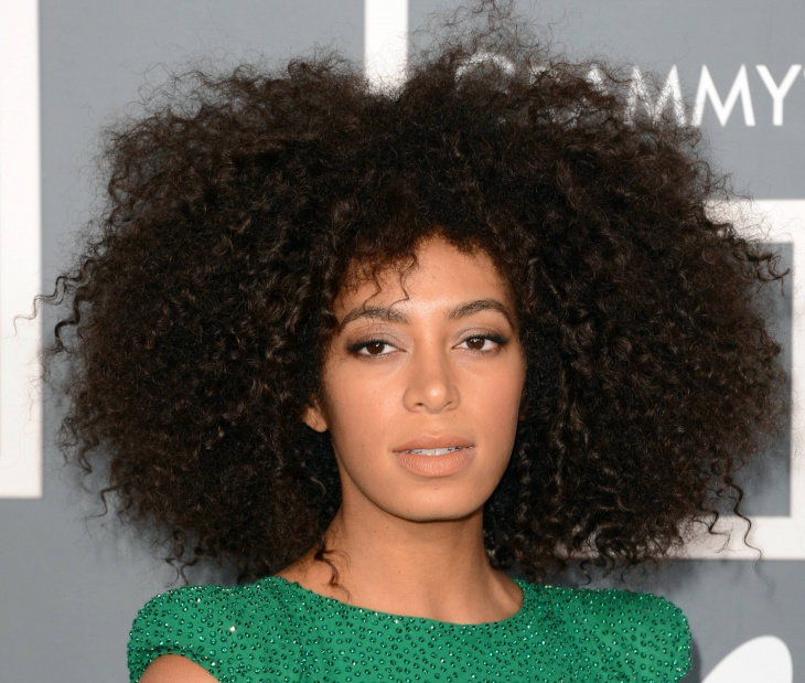 Solange Knowles Curly Weave Hairstyle with Bangs