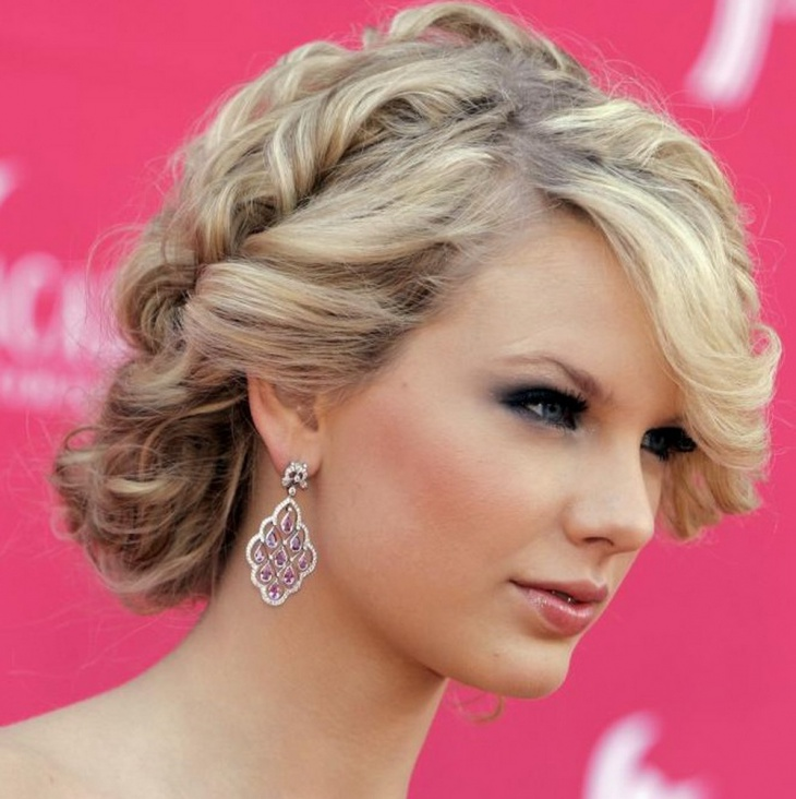 Taylor Swift Curly Weave Updo Hairstyle Idea